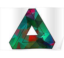 Green Penrose Triangle Polygon Art Poster