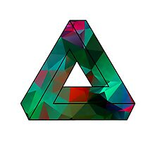 Green Penrose Triangle Polygon Art Photographic Print