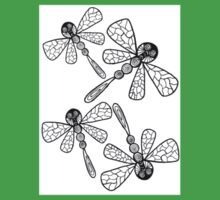 Four Flying Dragonflies in Pen and Ink Baby Tee