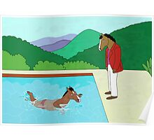 BoJack Horseman x David Hockney tripping painting Poster