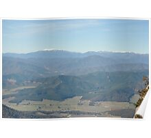 Over The Valley's Of Green To The White Snow Capped Peaks Poster