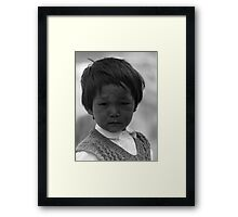 tribal boy. pin valley, northern india Framed Print