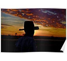 Stockman at Sunset - Camooweal Qld Aust. Poster