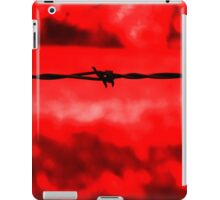 Barbed wire against a red background iPad Case/Skin