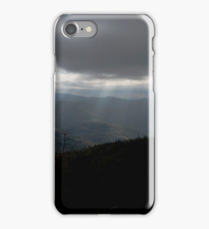 before the storm streaks of light on a cloudy sky - Klimczok mountain, mountains Beskidy Slaskie, Poland iPhone Case/Skin