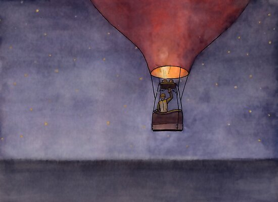 Nighttime in a Balloon over the Ocean by Tim Gorichanaz
