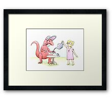 Tea Party with a Velociraptor  Framed Print