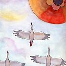 Storks Flying with a Hot Air Balloon by Tim Gorichanaz