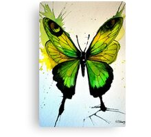 Green Abstract Butterfly Canvas Print