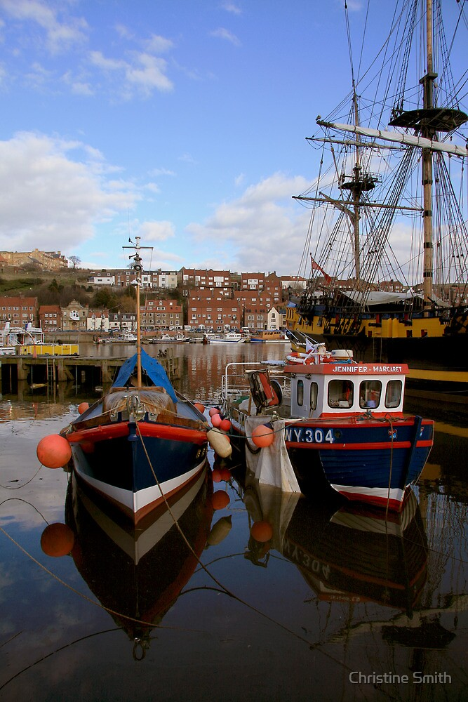 Moored in Still Water, Whitby by Christine Smith