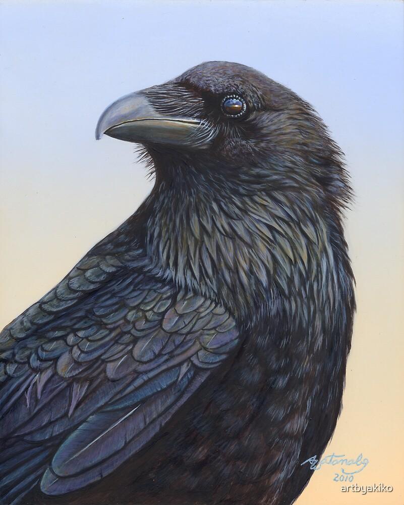 Raven Watching the Sunset by artbyakiko