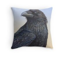 Raven Watching the Sunset Throw Pillow