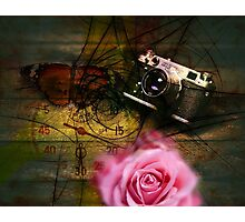 Unique vintage camera, clock and flower Photographic Print