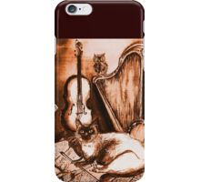 MUSICAL CAT AND OWL  Brown Sepia White iPhone Case/Skin
