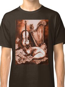 MUSICAL CAT AND OWL  Brown Sepia White Classic T-Shirt