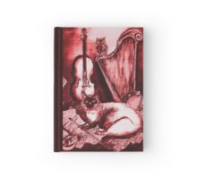 MUSICAL CAT AND OWL  Red White Hardcover Journal