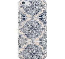 Brush and Ink Watercolor Pattern in Indigo and Cream iPhone Case/Skin