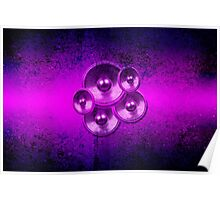 Purple music speakers on a concrete wall Poster