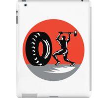Tire Sledgehammer Workout Woodcut iPad Case/Skin