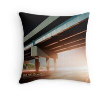 Car gliding under the highway Throw Pillow