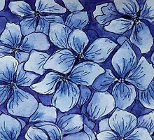 blue watercolor hydrangea by nostiya