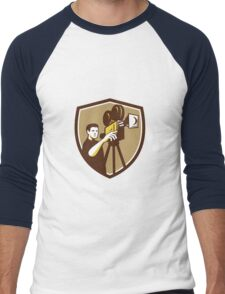 Movie Director Movie Film Camera Shield Retro Men's Baseball ¾ T-Shirt