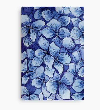 blue watercolor hydrangea pattern Canvas Print