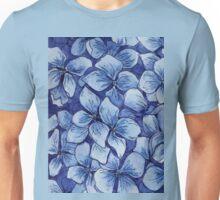 blue watercolor hydrangea pattern Unisex T-Shirt