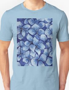 blue watercolor hydrangea pattern T-Shirt