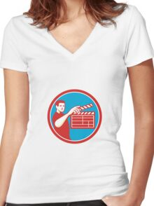 Film Crew Clapperboard Circle Retro Women's Fitted V-Neck T-Shirt