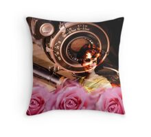 Unique vintage woman with roses and vintage camera design Throw Pillow