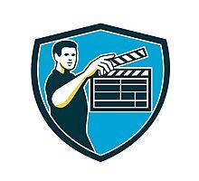 Film Crew Clapperboard Shield Retro Photographic Print