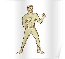 Vintage Boxer Pose Etching Poster