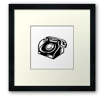 Telephone Vintage Woodcut Framed Print