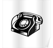 Telephone Vintage Woodcut Poster