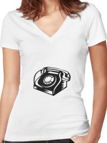 Telephone Vintage Woodcut Women's Fitted V-Neck T-Shirt