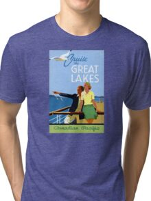 Cruise the Great Lakes Vintage Travel Poster Tri-blend T-Shirt