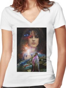 Woodstock Chasing Rabbits  Women's Fitted V-Neck T-Shirt