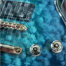 Guitar In Blue With Australian Wattle Flowers by Joy Watson