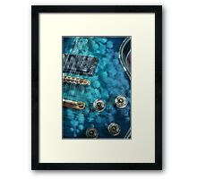 Guitar In Blue With Australian Wattle Flowers Framed Print