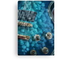 Guitar In Blue With Australian Wattle Flowers Canvas Print