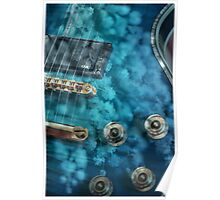 Guitar In Blue With Australian Wattle Flowers Poster