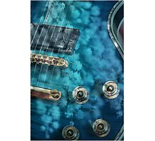 Guitar In Blue With Australian Wattle Flowers Photographic Print