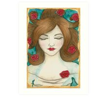 Ophelia - Covered by Roses Art Print