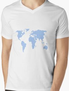 World map made of blue dots. Mens V-Neck T-Shirt