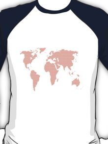World map made of red dots. T-Shirt