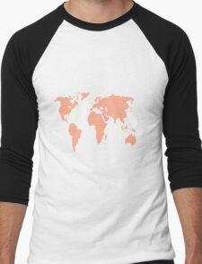 World map made of red dots. Men's Baseball ¾ T-Shirt