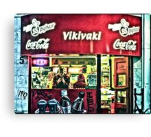 Keeping warm inside a hot dog shop on Laugavegur, Reykjavik, Iceland Canvas Print