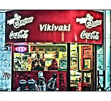 Keeping warm inside a hot dog shop on Laugavegur, Reykjavik, Iceland Photographic Print