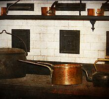 Antique oven and saucepans by Deb Gibbons
